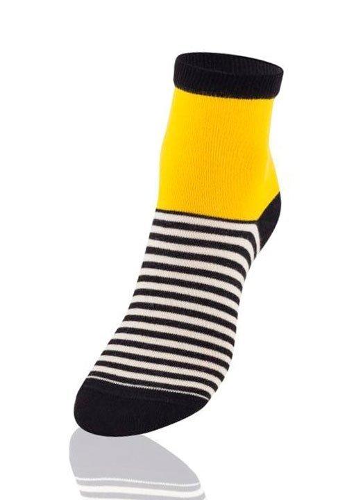 ENVIE DF11 YELLOW czarne skarpetki z żółtą górą, białe paseczki