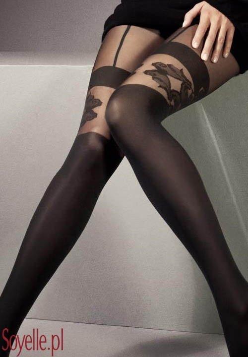 MARICA rajstopy imitujące pończochy, wzorzyste, czarne, grubość 40 den