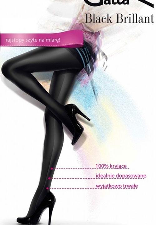 BLACK BRILLANT rajstopy jak legginsy, imitacja błyszczącej skóry - można nosić do krótkich bluzek!!!