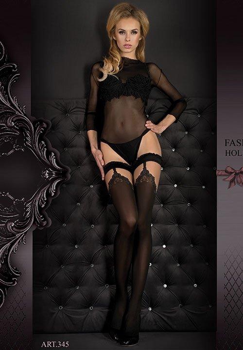 BALLERINA 345 FUME czarne pończochy z beżową górą, szare wzory