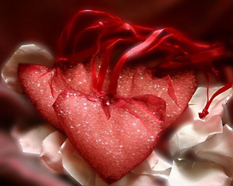 Perełki zapachowe 60g w sercu z organzy, różne kolory