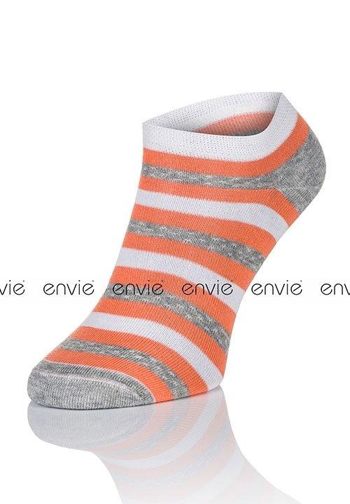 ENVIE MULTI DF03 ORANGE stopki zakostki w paski, pomarańczowo - biało - szare