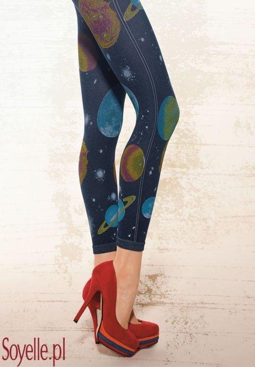 COLLY ANN 19 legginsy galaxy, długie, z imitacją granatowych jeansów