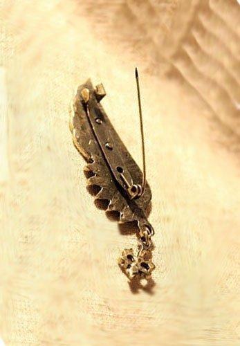 GOLD WING broszka w kształcie anielskiego skrzydła, ciemne złoto