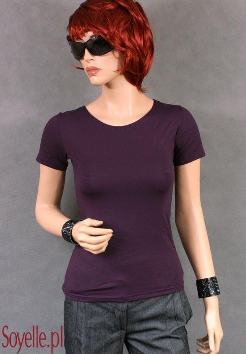 CARLA bluzka z wiskozy krótki rękawek czarna, biała, beżowa ciemna (cappucino), śliwkowa