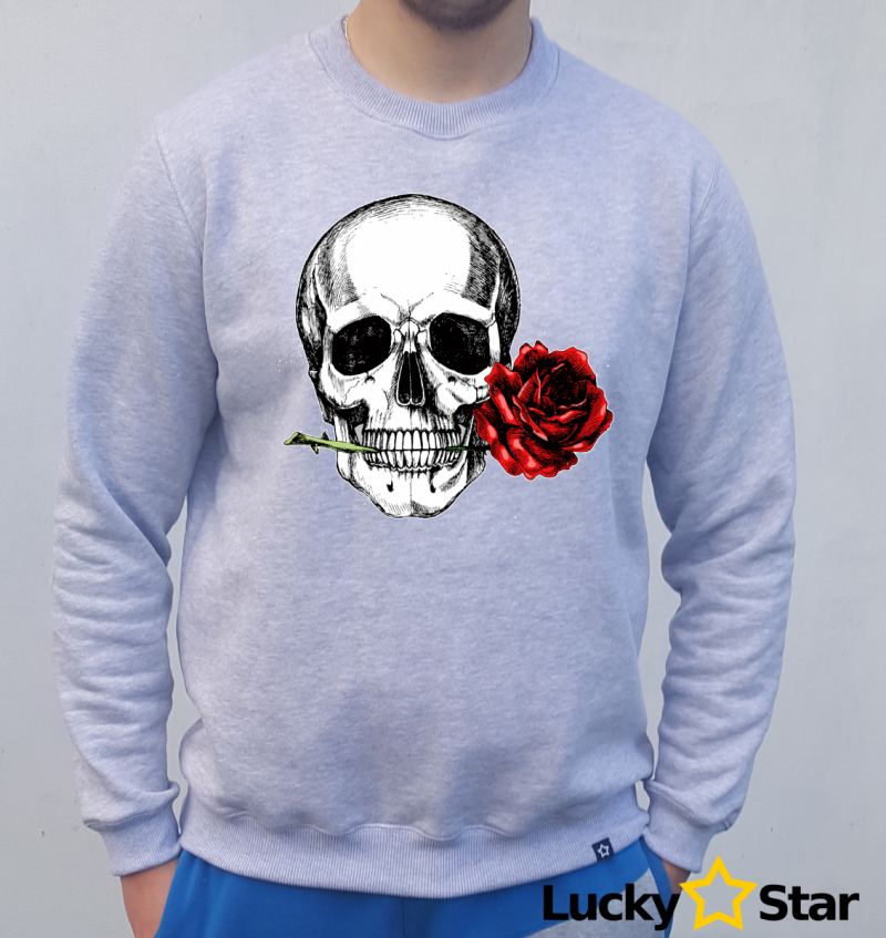 Bluza Męska Human skull with a rose
