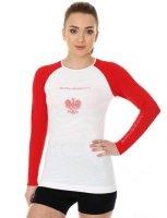 Brubeck LS13200 Koszulka damska 3D Husar PRO z długim rękawem biały/czerwony