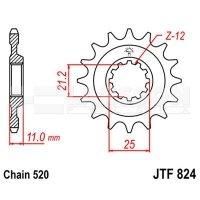 Zębatka przednia JT F824-17, 17Z, rozmiar 520 2200909 Husqvarna TC 610