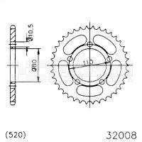 Zębatka tylna stalowa JT 50-32008-36, 36Z, rozmiar 520 2300534 Kymco Venox 250