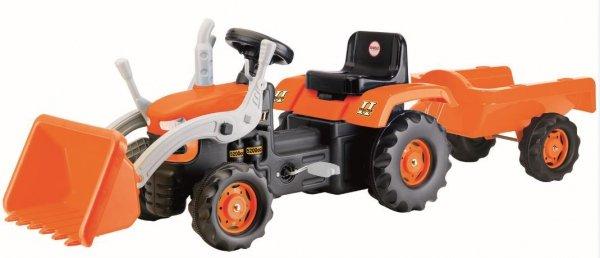 Traktor koparka na pedały z przyczepą w kartonie  DOLU