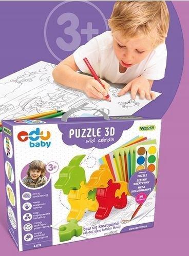 Puzzle 3D Wild Animals EDU BABY WADER 42170