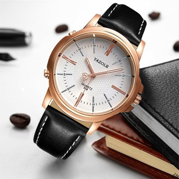 Zegarek męski yazole biała tarcza czarny pasek ZM93BCZ