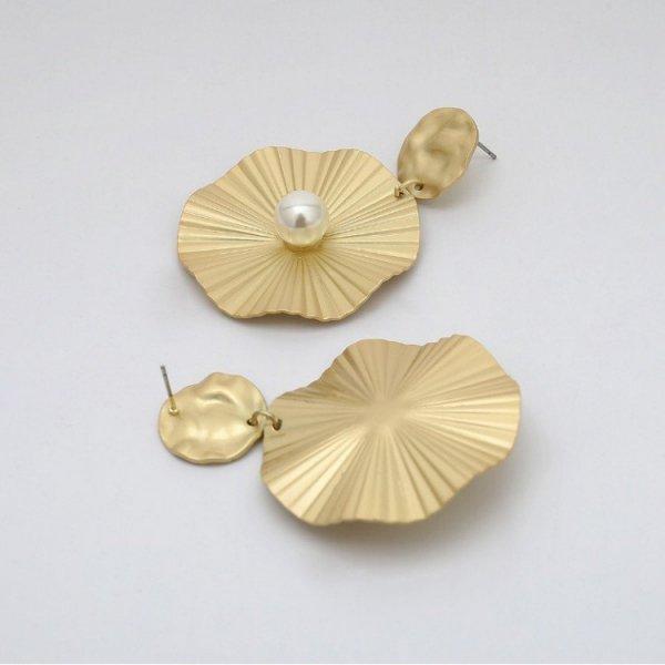Kolczyki podwójne koła z perłą K1060Z