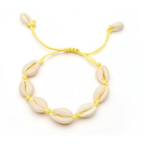 Bransoletka muszelki na rzemyku żółta B363ZO