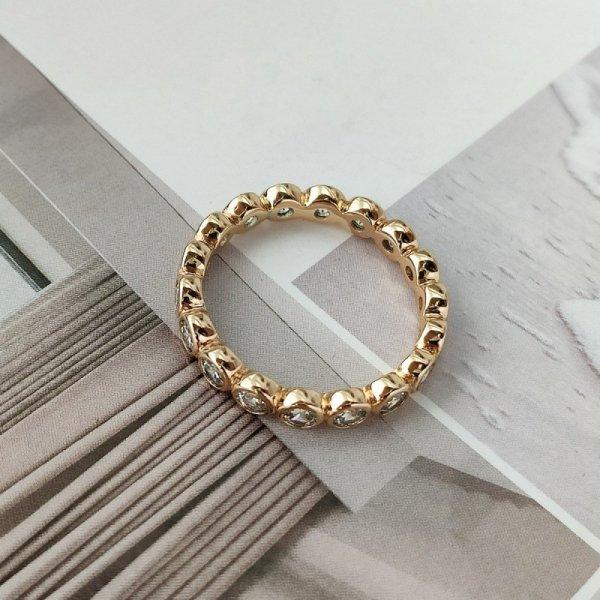 Pierścionek stal chirurgiczna platerowana złotem 558, Rozmiar pierścionków: US10 EU22