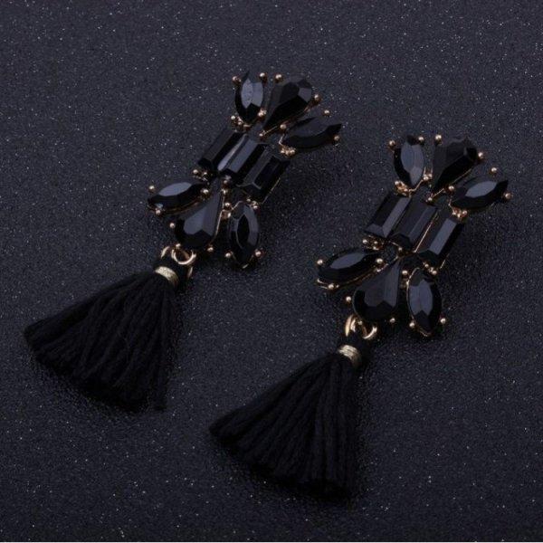 Kolczyki chwosty zdobione kryształ czerń K631CZ