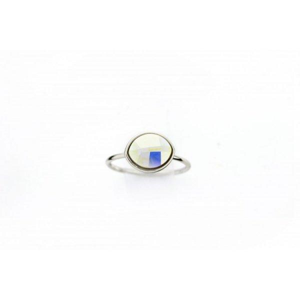 PIERŚCIONEK KRYSZTAŁEK SWAROVSKI STAL PLATEROWANA BIAŁYM ZŁOTEM PST456, Rozmiar pierścionków: US6 EU11