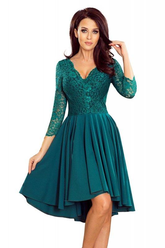 Wyszywana sukienka z asymetrycznym dołem