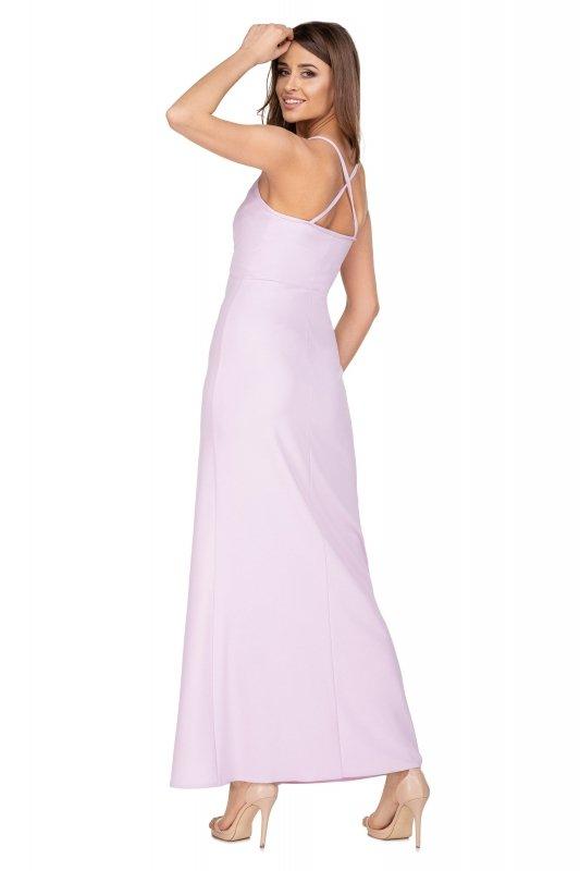 sukienka maxi na ramiączkach z kopertowym dekoltem i głębokim rozporkiem