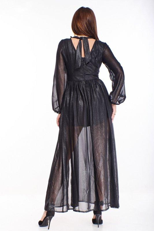 połyskująca sukienka maxi z wiązaniem na plecach
