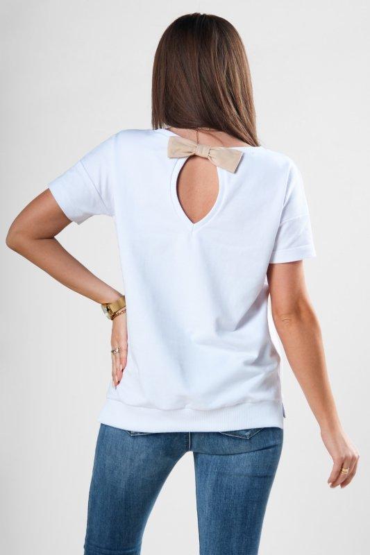 dzianinowa bluzka z kieszenią na biuście i kokradką na plecach