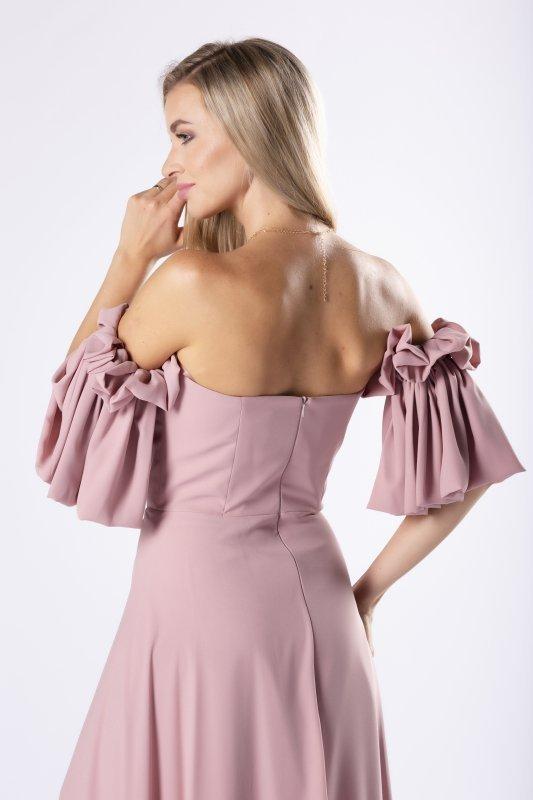 elegancka sukienka maxi z gorsetową górą i ozdobnymi rękawkami z marszczeniem