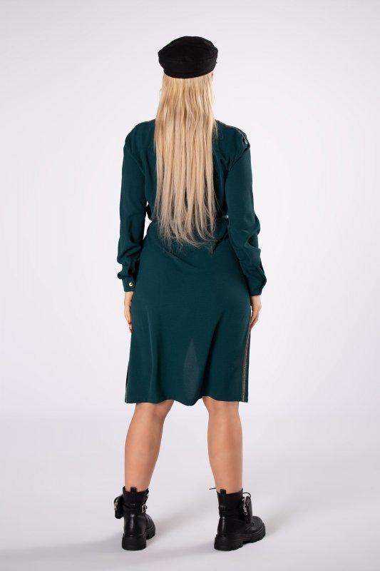 sukienka szmizjerka z wiązaniem w pasie i rozcięciami po bokach