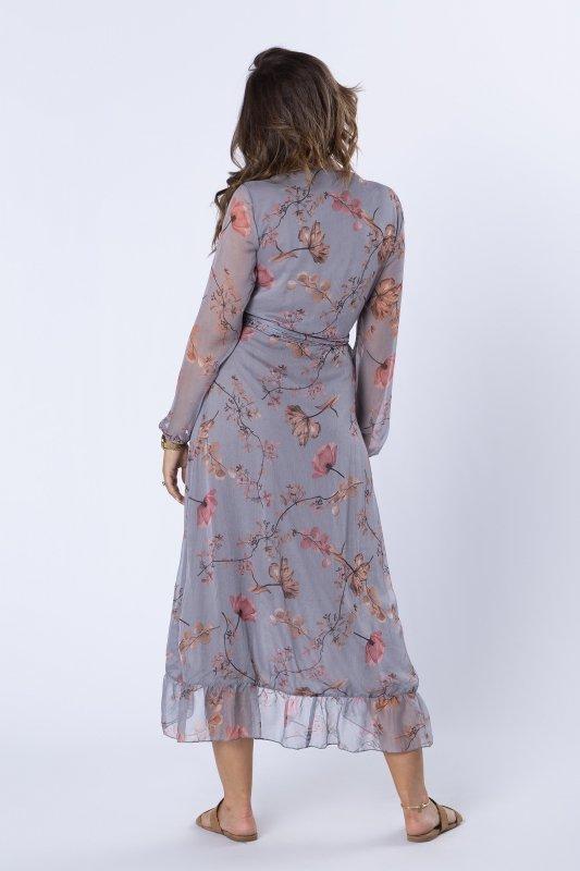 kopertowa sukienka midi z falbanami i wiązaniem w pasie