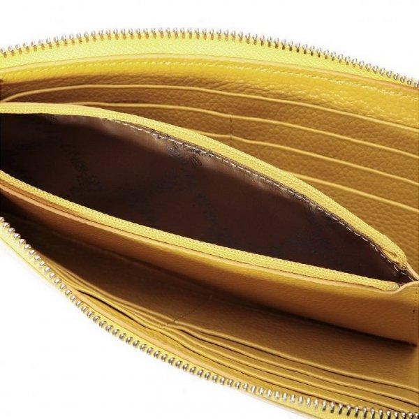 Krówkowy płaski portfel Stare złoto