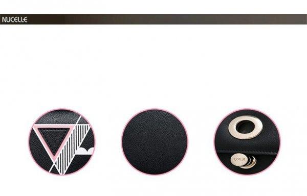 NUCELLE Krótki portfel z geometrycznym wzorem Czarny