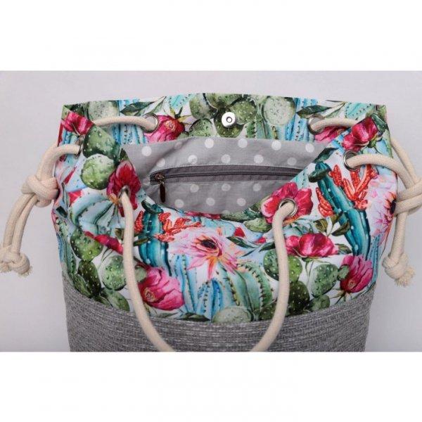Szara torebka worek w kaktusy - rączki ze sznurka.