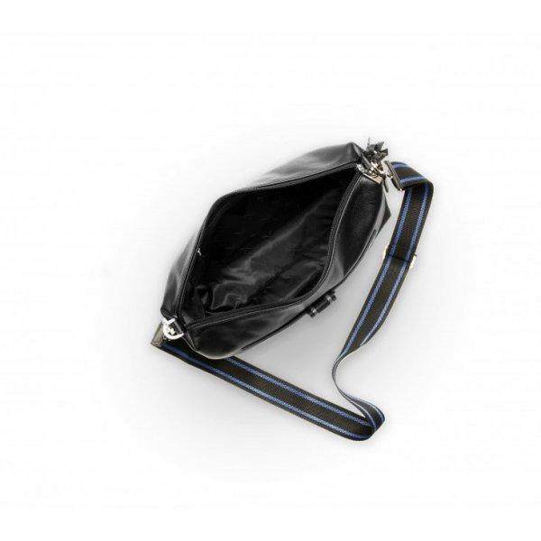 Torebka czarna z ozdobnym parcianym paskiem