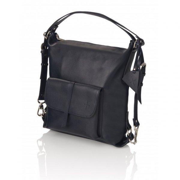 Torebko-plecak granatowy ze skóry naturalnej