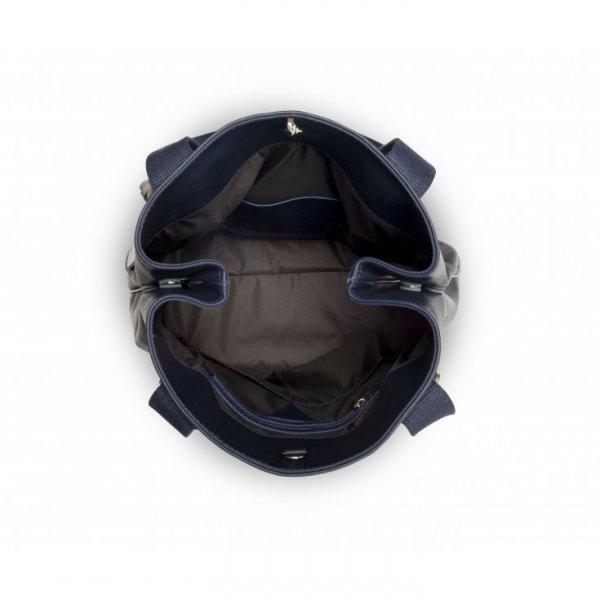 Duża, granatowa torebka ze skóry naturalnej