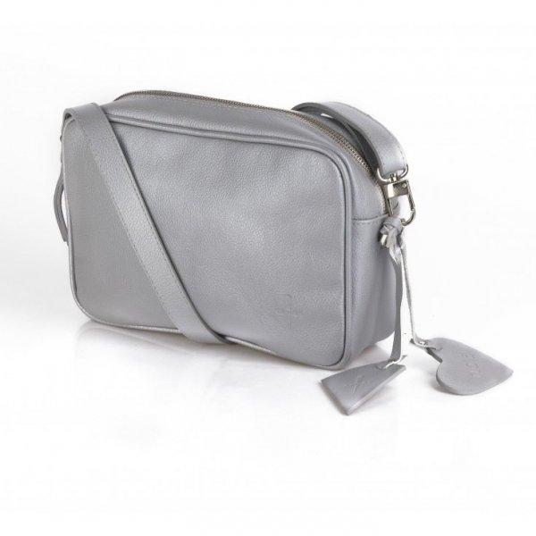 Szara perłowa torebka na ramię