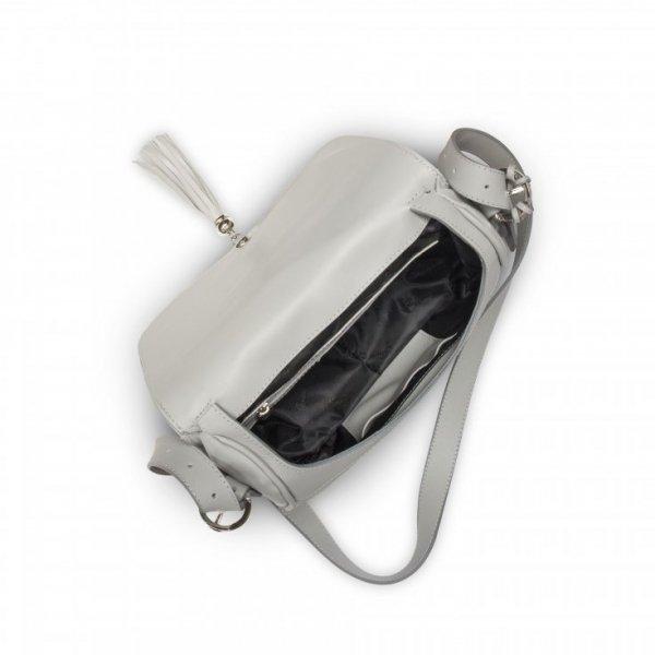 Popielata torebka na ramię, z klapką i frędzlem