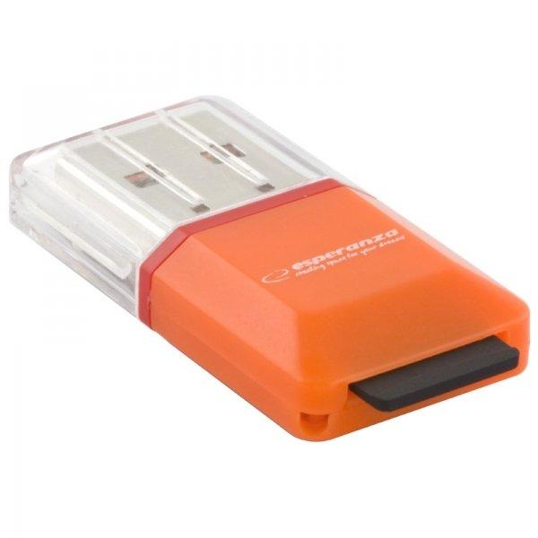 CZYTNIK KART MICRO SD USB POMARAŃCZOWY EA134O