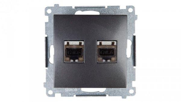 Simon 54 Gniazdo komputerowe podwójne 2xRJ45 kat.6 ekranowane z przesłoną antracyt D62E.01/48