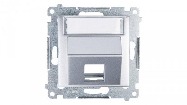 Simon 54 Pokrywa gniazda teleinformatycznego pojedynczego RJ skośna z polem opisowym srebrny mat DKP1S.01/43