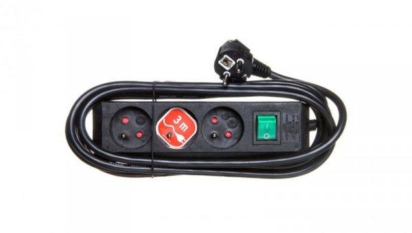 Listwa zasilajaca Eco-Line 3m /z wyłącznikiem/ 3x230V czarna H05VV-F 3G1,5 1152304130
