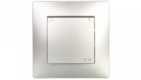 VOLANTE Gniazdo pojedyncze z/u 16A 230V IP44 srebrne 2636-06