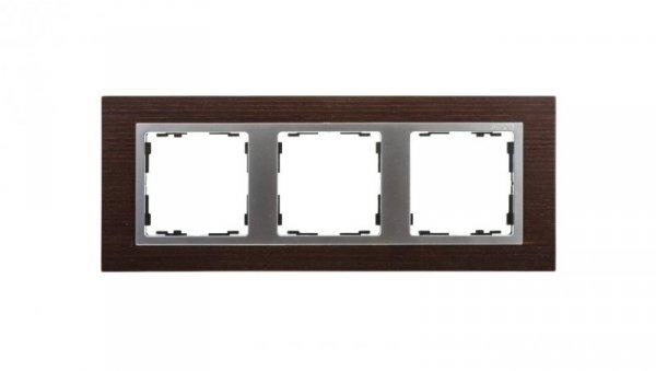 Simon 82 Ramka potrójna pozioma drewniana wenge/ ramka pośrednia aluminium mat 82937-65