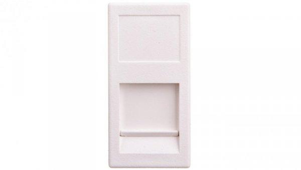 Simon Connect Płytka K45 gniazda teleinformatycznego pojedynczego RJ płaska z przesłoną czysta biel KA76/9