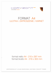 ulotka A4, druk pełnokolorowy obustronny 4+4, na papierze kredowym, 130 g, 2500 sztuk