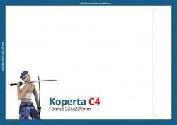 Koperty C4 (324 x 229 mm), Druk jednostronny kolorowy 4+0, Offset 80 g - 50 szt.