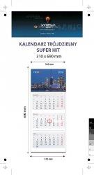 Kalendarz trójdzielny SUPER HIT - całość na Kartonie Alaska 250 g, 310 x 690 mm, Druk jednostronny kolorowy 4+0 CMYK, 3 oddzielne kalendaria, 290 x 145 mm, czerwono - czarne, okienko osobno - 50 sztuk