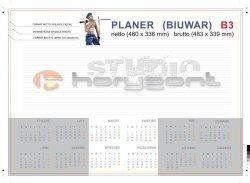 planer na biurko B3  - 26 kart, druk jednostronny pełnokolorowy 4+0, offset 90g, klejony - 500 sztuk