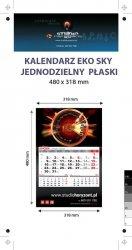 Kalendarz jednodzielny Eko Sky, płaski, druk jednostronny kolorowy (4+0), Folia błysk jednostronnie, Podkład - Karton 300 g, okienko czerwone - 150 sztuk