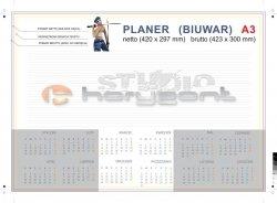 planer na biurko A3 - 26 kart, druk jednostronny pełnokolorowy 4+0, offset 90g, klejony - 900 sztuk