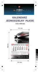 kalendarz jednodzielny Orange Mini, Karton Alaska 250g, Folia błysk jednostronnie, całość 310 x 458 mm, druk pełnokolorowy 4+0, główka płaska, 1 blok kalendarium 3-miesięczne, 290 x 190 mm, okienko - 300 sztuk
